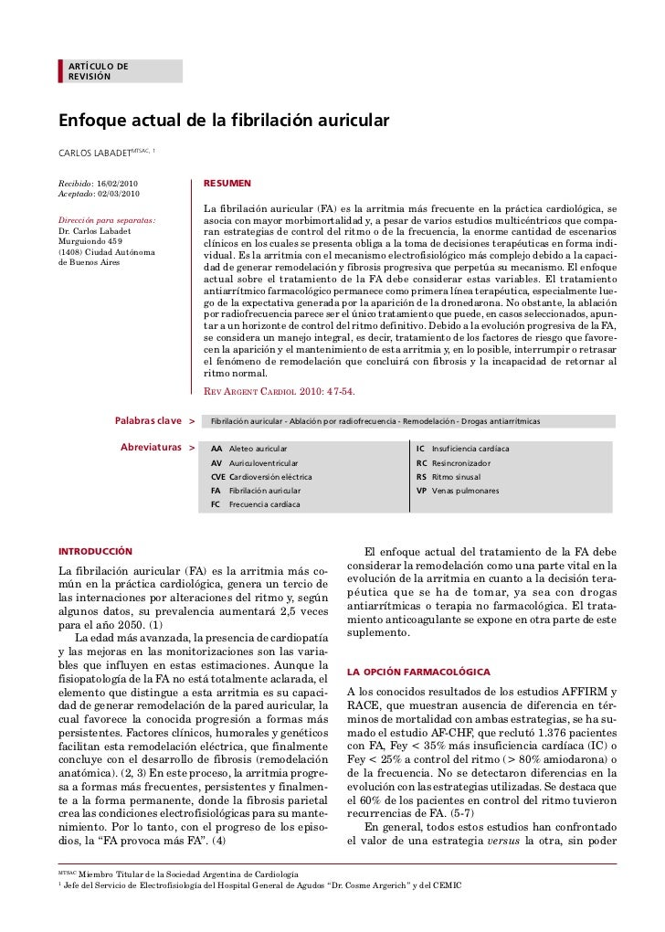ENFOQUE ACTUAL EN FA / Carlos Labadet et al  ARTÍCULO DE                                                                  ...