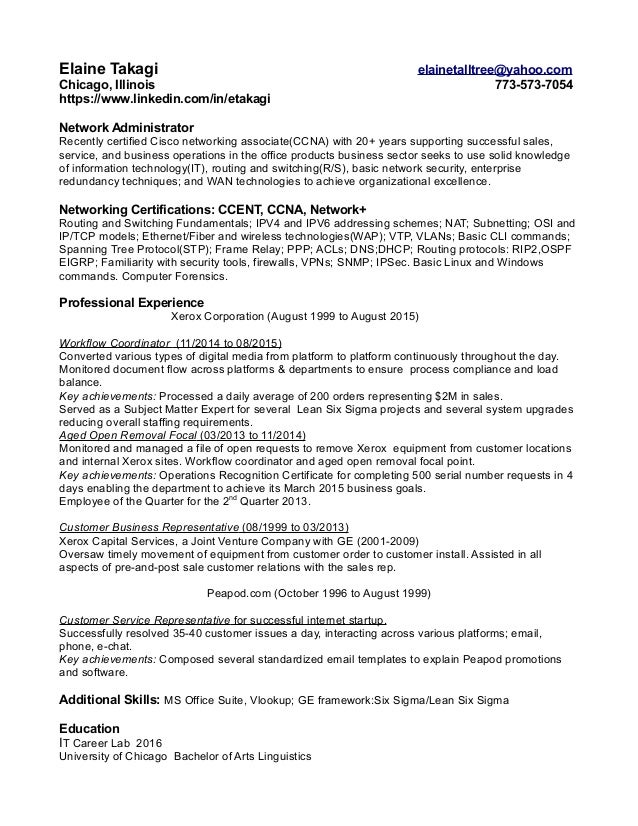 network admin resume