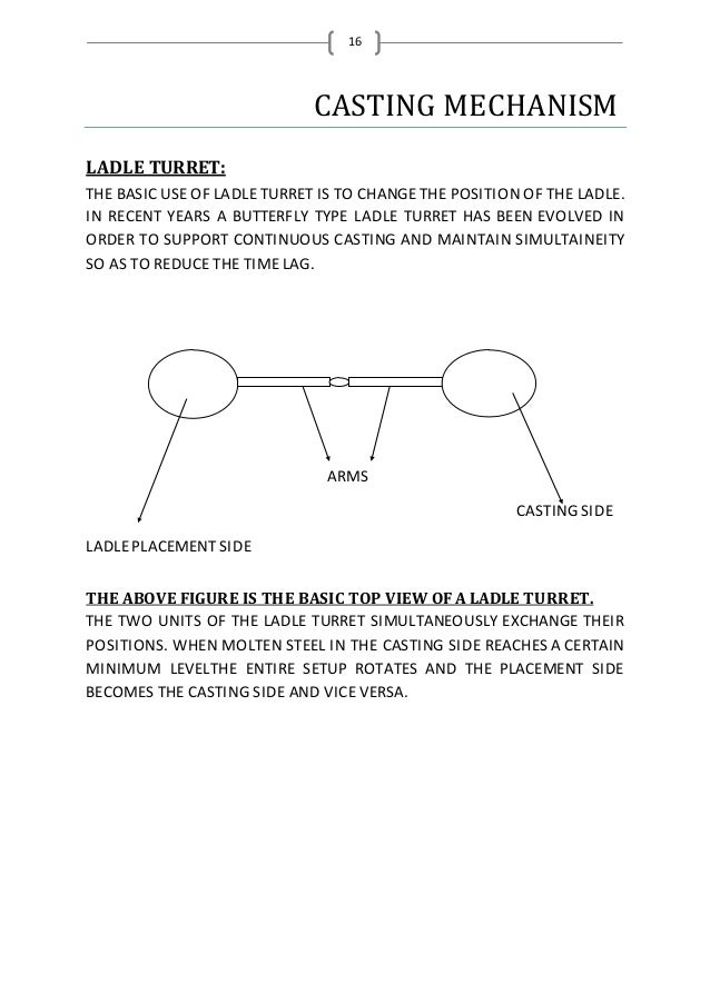 16 CASTING MECHANISM LADLE TURRET: THE BASICUSE OF LADLE TURRET IS TO CHANGE THE POSITION OF THE LADLE. IN RECENT YEARS A ...