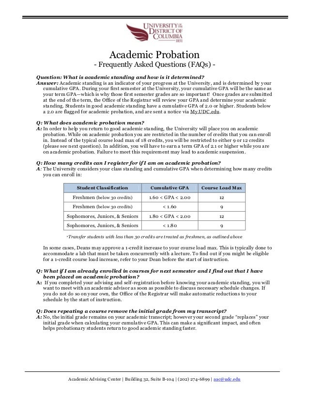 Academic Advising Center   Building 32, Suite B-104   (202) 274-6899   aac@udc.edu Academic Probation - Frequently Asked Q...