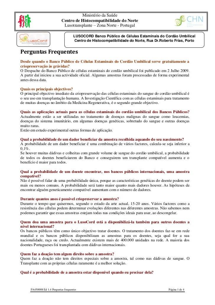 Ministério da Saúde                              Centro de Histocompatibilidade do Norte                               Lus...