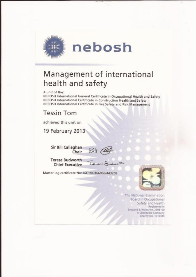 nebosh igc 1 Nebosh igc + iosh managing safely +risk assessment +ad ohsms  this  comprehensive nebosh certificate 88 hours course which concludes with a   risk assessment - october 12 (1 day) ad ohsms internal auditor v3 training.