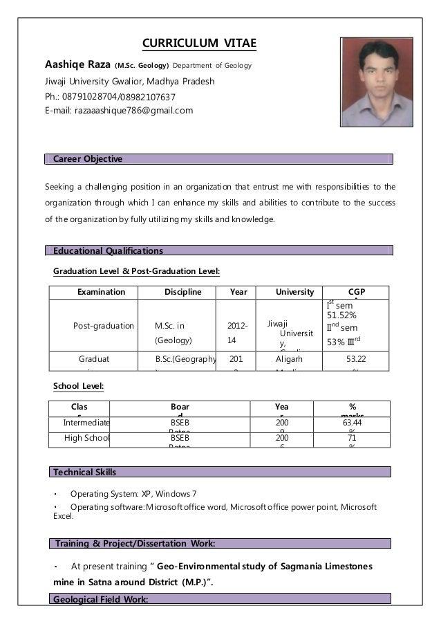 aashiqe m sc  geology resume