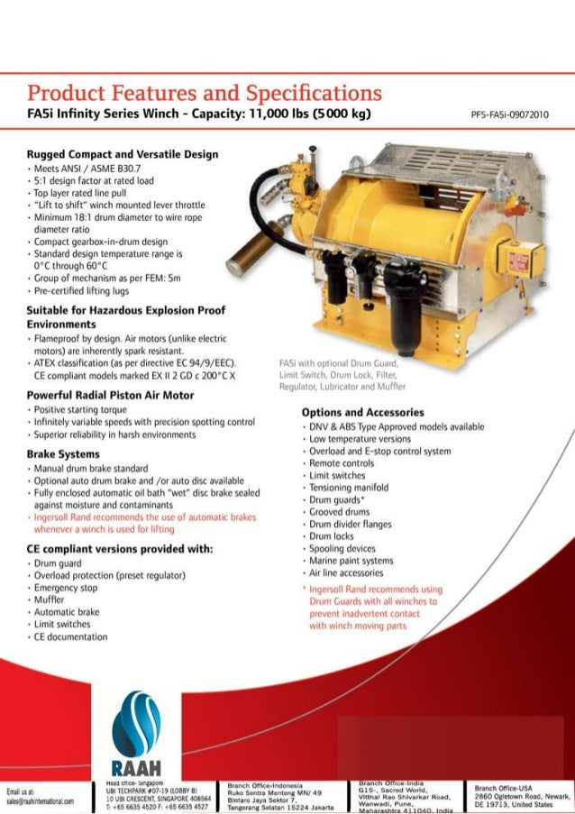 Raah International suppliers for Ingersoll Rand Utility Air Winches F…