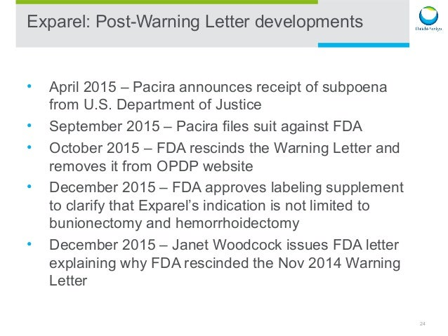 24 24 exparel post warning letter