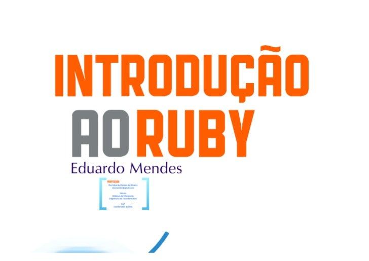 Introdução à Linguagem Ruby - Fundamentos - Parte 2