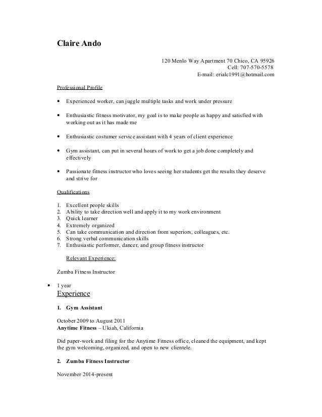 zumba instructor resume