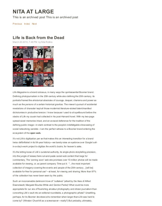 NITA AT LARGE This is an archived post This is an archived post Previous Index Next Life is Back from the Dead March 20 20...