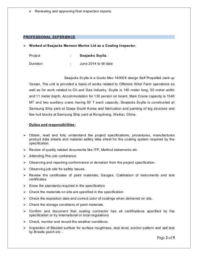 page 1 of 5 2 sample resume for painter