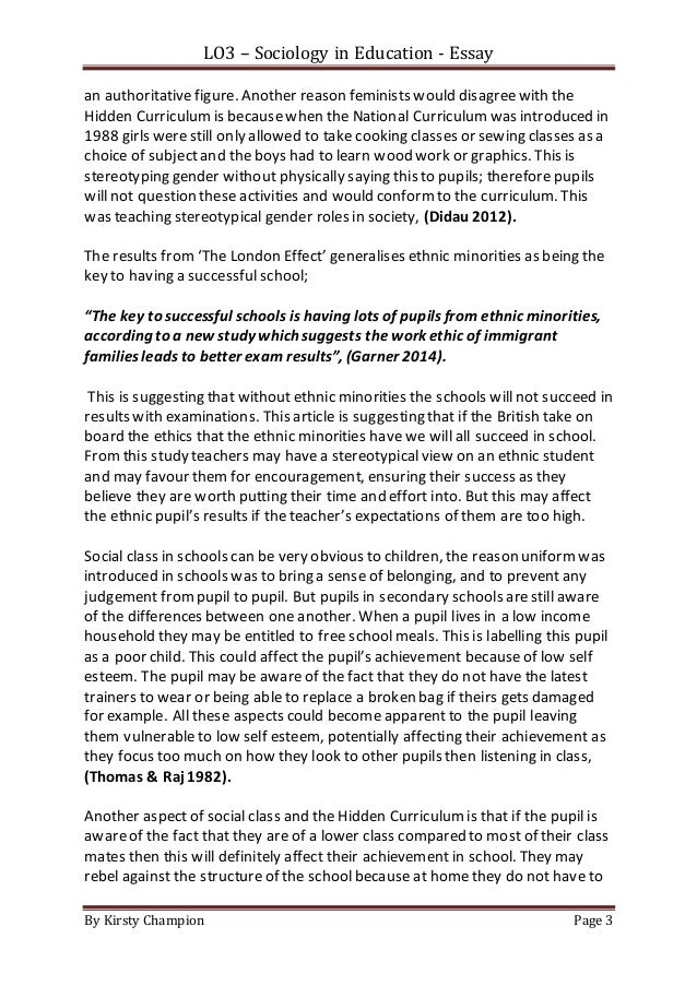 class curriculum essay hidden social work Social class and the hidden curriculum of work quote: scholars in political economy and the sociology social class and the hidden curriculum of work.