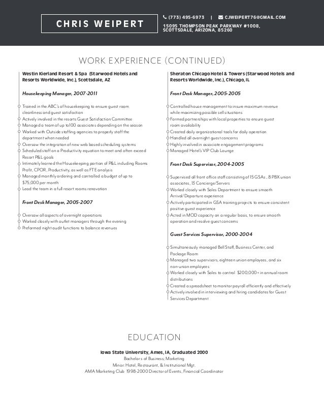 housekeeping supervisor resume front desk supervisor resume