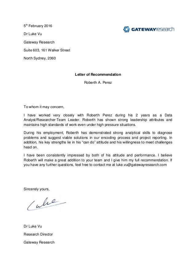 Roberth Perez Endorsement Letter 2016. 5th February 2016 Dr Luke Vu Gateway  Research Suite 603, 161 Walker Street North Sydney  Endorsement Letter For Employment