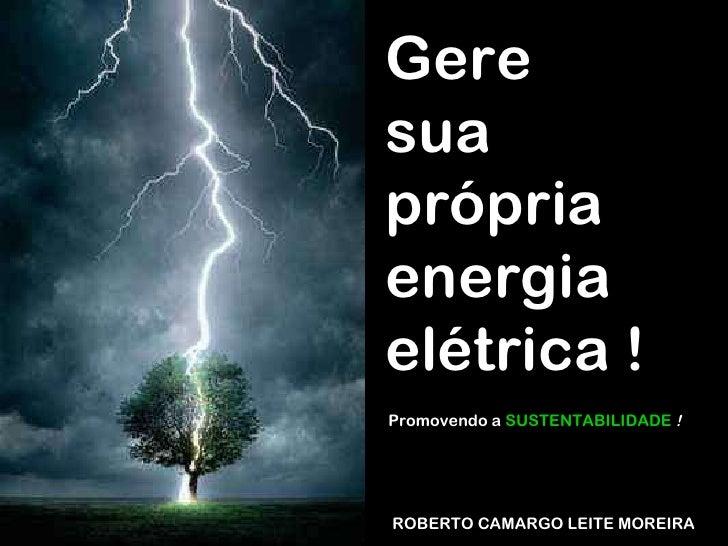 ROBERTO CAMARGO LEITE MOREIRA Gere  sua própria energia elétrica ! Promovendo a  SUSTENTABILIDADE   !