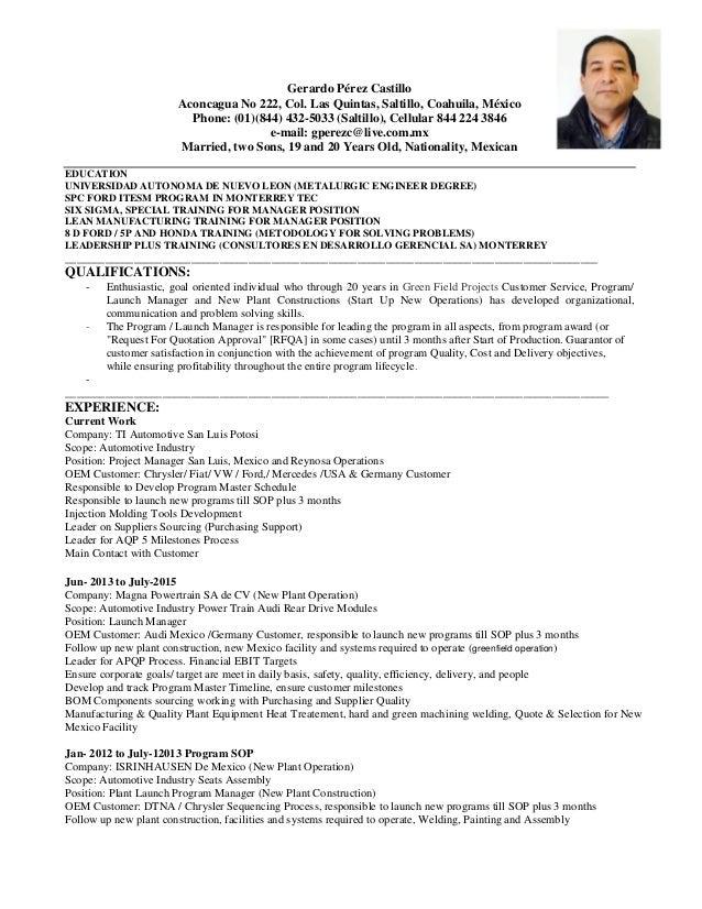 Curriculum Vitae Gerardo Perez April 2016 1