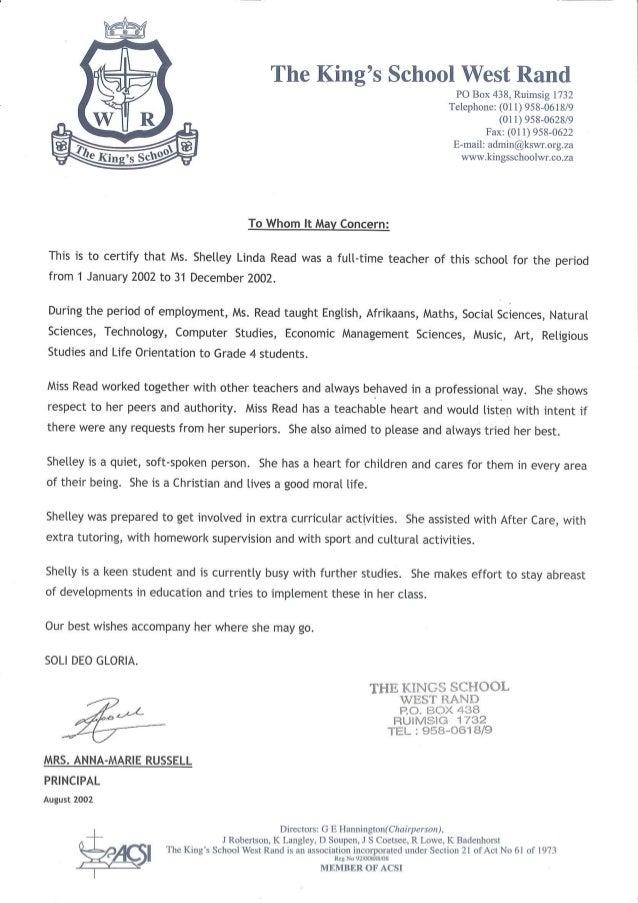 Kingu0027s School Reference Letter