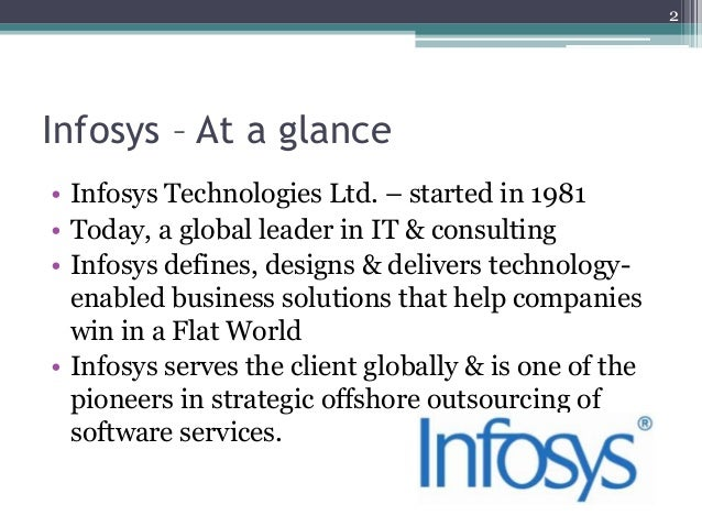 Infosys technologies and infosys consulting analysis