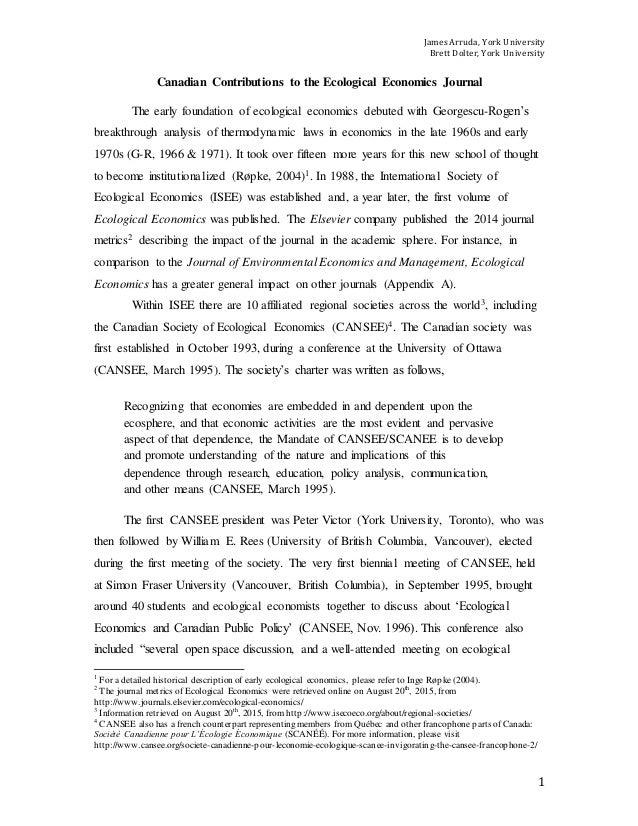 James Arruda, York University Brett Dolter, York University 1 Canadian Contributions to the Ecological Economics Journal T...