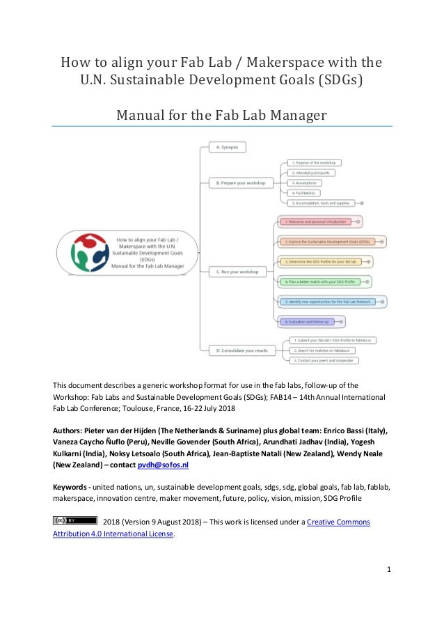 1 How to align your Fab Lab / Makerspace with the U.N. Sustainable Development Goals (SDGs) Manual for the Fab Lab Manager...