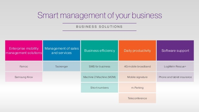 Smart management of your business B U S I N E S S S O L U T I O N S Enterprise mobility management solutions Management of...