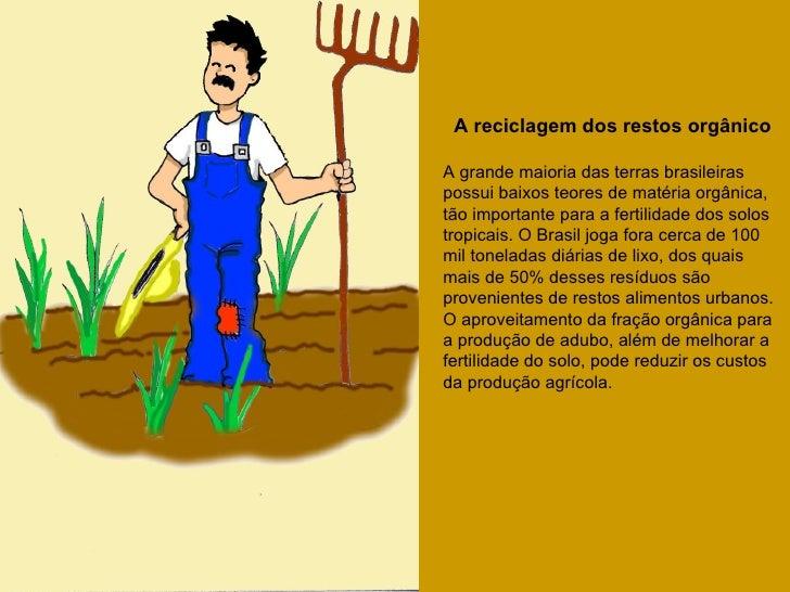 A reciclagem dos restos orgânicoA grande maioria das terras brasileiraspossui baixos teores de matéria orgânica,tão import...