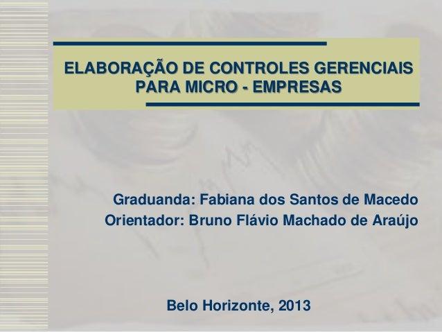 ELABORAÇÃO DE CONTROLES GERENCIAIS PARA MICRO - EMPRESAS Graduanda: Fabiana dos Santos de Macedo Orientador: Bruno Flávio ...