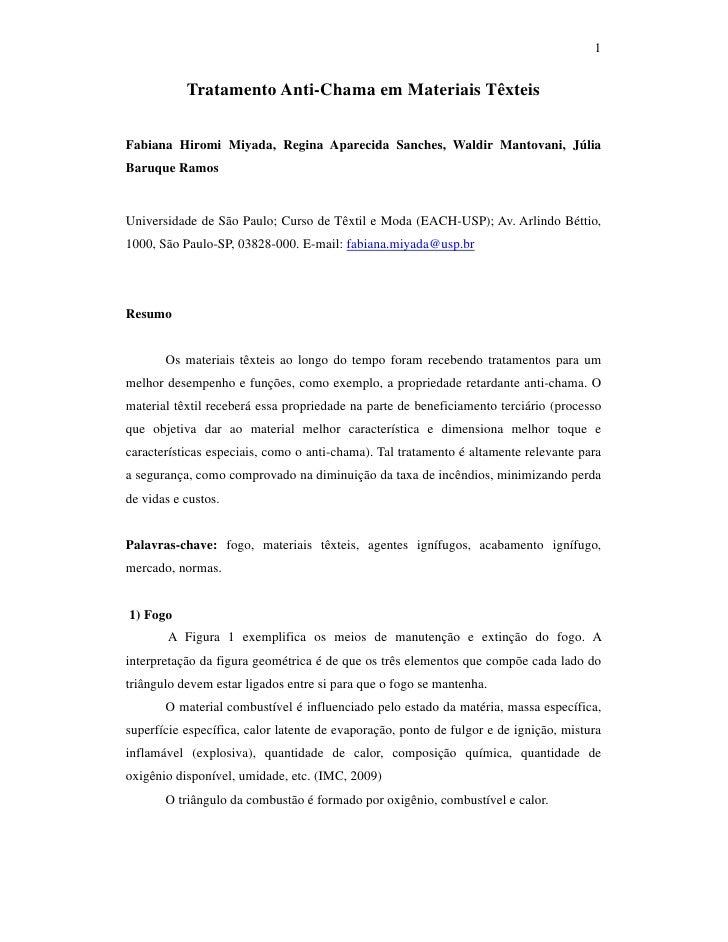1              Tratamento Anti-Chama em Materiais Têxteis   Fabiana Hiromi Miyada, Regina Aparecida Sanches, Waldir Mantov...