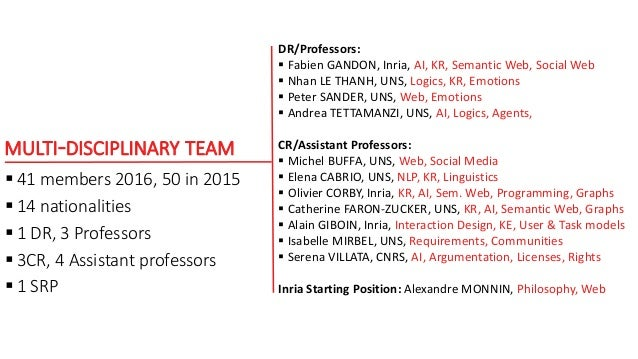 MULTI-DISCIPLINARY TEAM  41 members 2016, 50 in 2015  14 nationalities  1 DR, 3 Professors  3CR, 4 Assistant professor...
