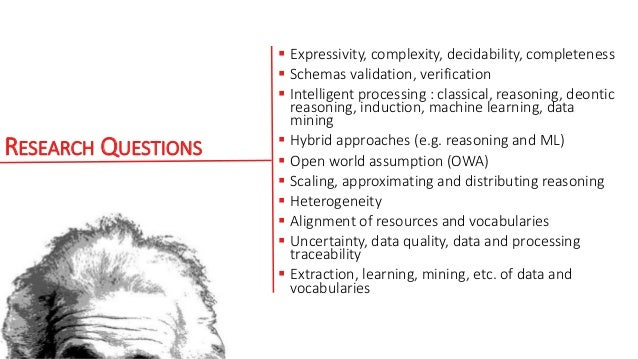 RESEARCH QUESTIONS  Expressivity, complexity, decidability, completeness  Schemas validation, verification  Intelligent...