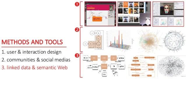 METHODS AND TOOLS 1. user & interaction design 2. communities & social medias 3. linked data & semantic Web   