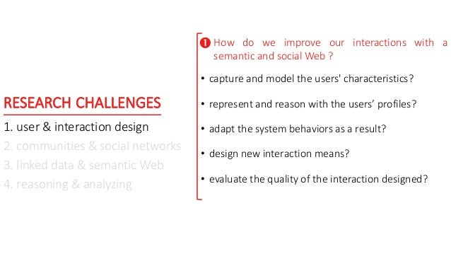 RESEARCH CHALLENGES 1. user & interaction design 2. communities & social networks 3. linked data & semantic Web 4. reasoni...