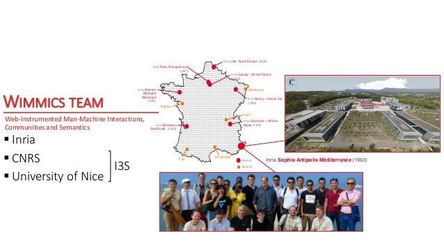 WIMMICS TEAM  Inria  CNRS  University of Nice Inria Lille - Nord Europe (2008) Inria Saclay – Ile-de-France (2008) Inri...