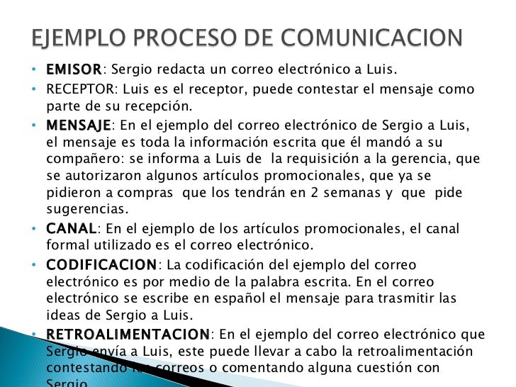 <ul><li>EMISOR : Sergio redacta un correo electrónico a Luis. </li></ul><ul><li>RECEPTOR: Luis es el receptor, puede conte...