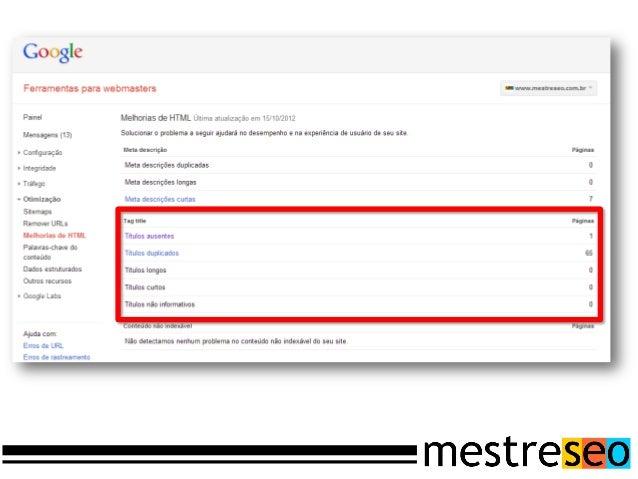 O GooglePrivilegia URLs que contémpalavras sobre o assuntoque elas tratam.