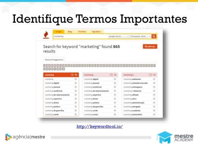 1 Identifique Termos Importantes http://keywordtool.io/