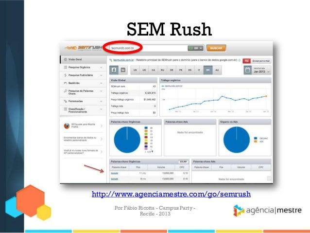 SEM Rush http://www.agenciamestre.com/go/semrush Por Fábio Ricotta - Campus Party - Recife - 2013