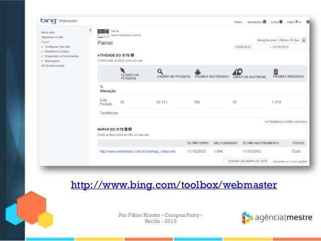 http://www.bing.com/toolbox/webmaster Por Fábio Ricotta - Campus Party - Recife - 2013