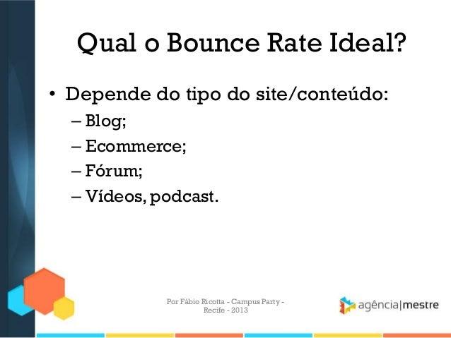 Qual o Bounce Rate Ideal? • Depende do tipo do site/conteúdo: – Blog; – Ecommerce; – Fórum; – Vídeos, podcast. Por Fábio R...