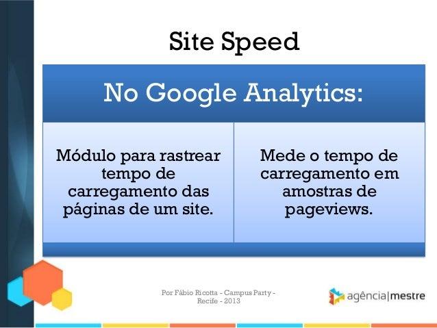 Site Speed No Google Analytics: Módulo para rastrear tempo de carregamento das páginas de um site. Mede o tempo de carrega...