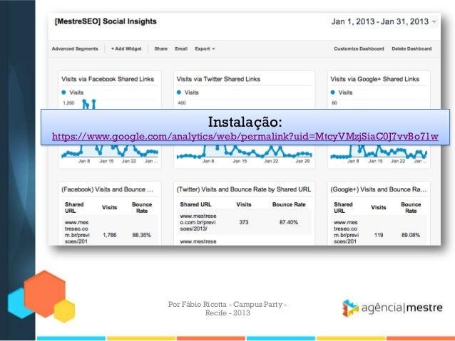 Instalação: https://www.google.com/analytics/web/permalink?uid=MtcyVMzjSiaC0J7vvBo71w Por Fábio Ricotta - Campus Party - R...