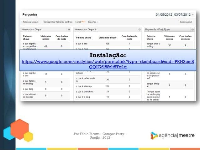 Instalação: https://www.google.com/analytics/web/permalink?type=dashboard&uid=PKH3cm8 QQIG6lWzlt5Tg1g Por Fábio Ricotta - ...