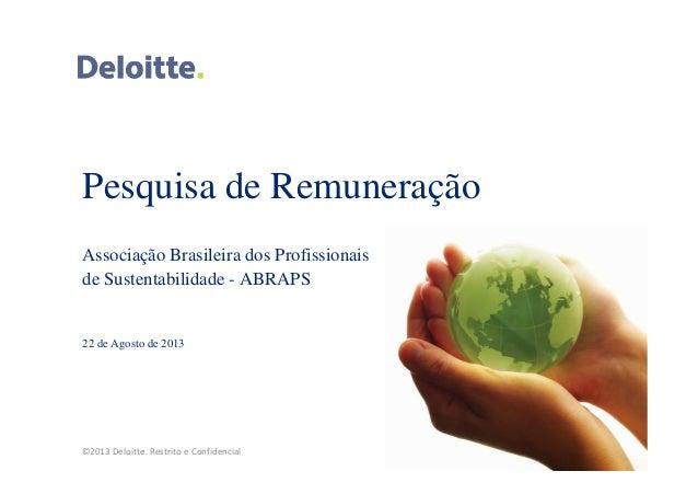 ©2013 Deloitte. Restrito e Confidencial Pesquisa de Remuneração Associação Brasileira dos Profissionais de Sustentabilidad...