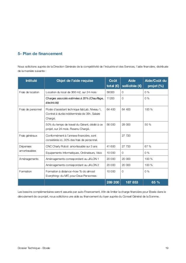 5- Plan de financement Nous sollicitons auprès de la Direction Générale de la compétitivité de l'industrie et des Services,...