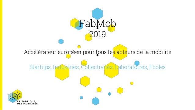 FabMob 2019 Accélérateur européen pour tous les acteurs de la mobilité Startups, Industries, Collectivités, Laboratoires, ...