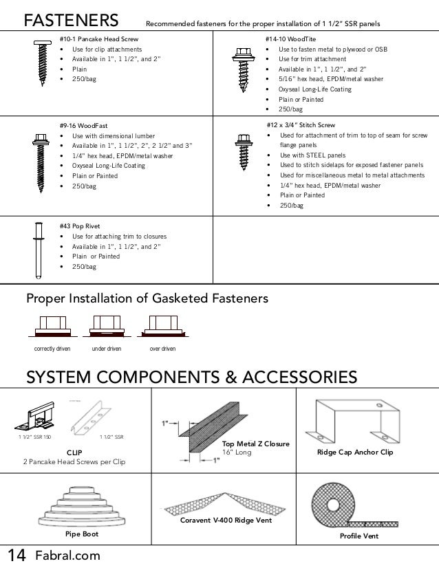 """14 Fabral.com FASTENERS #9-16 WoodFast • Use with dimensional lumber • Available in 1"""", 1 1/2"""", 2"""", 2 1/2"""" and 3"""" • 1/4..."""