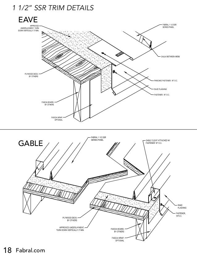 18 Fabral.com SLIDING EAVE DETAIL (E-1) 1 1/2 SSR Project: Contractor: Issued: FABRAL, INC. 3449 Hempland Road Lancaster, ...