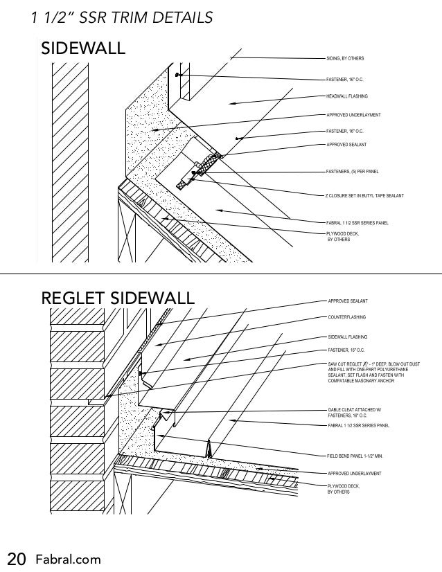 """20 Fabral.com 1 1/2"""" SSR TRIM DETAILS HEADWALL DETAIL (HW-1) 1 1/2 SSR Project: Contractor: Issued: FABRAL, INC. 3449 Hemp..."""