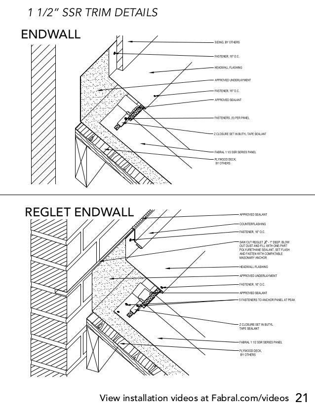 """21 1 1/2"""" SSR TRIM DETAILS HEADWALL DETAIL (HW-1) 1 1/2 SSR Project: Contractor: Issued: FABRAL, INC. 3449 Hempland Road L..."""