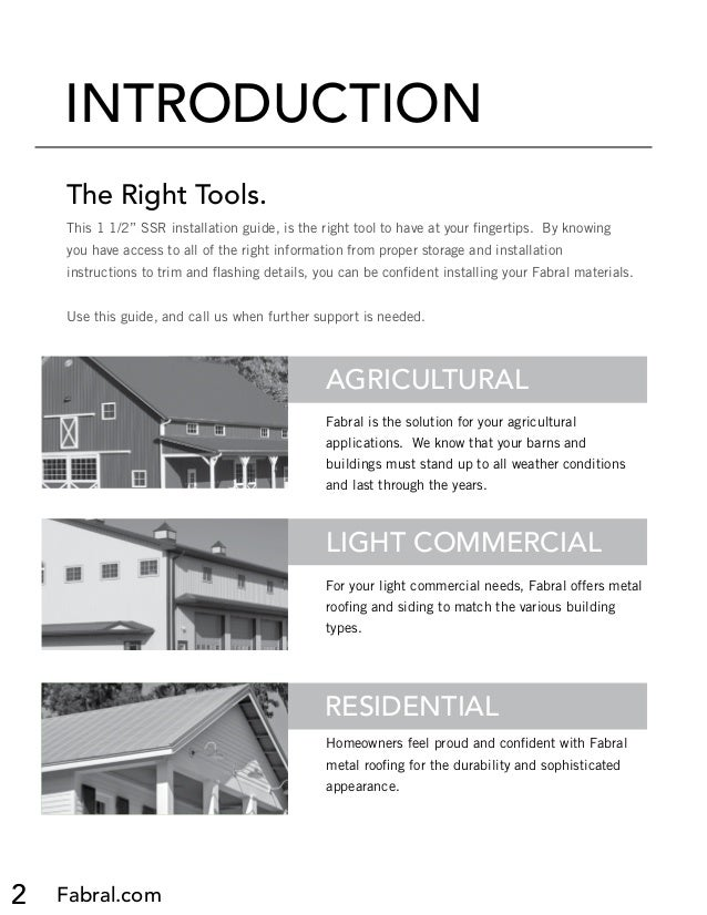 Roofing Installation Guide : Fabral ssr metal roofing installation manual