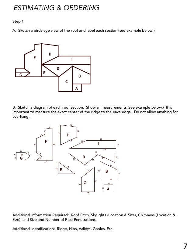 ESTIMATING & ORDERING Step 1 A. Sketch a birds-eye view of the roof and label each section (see example below.) G F H E D ...