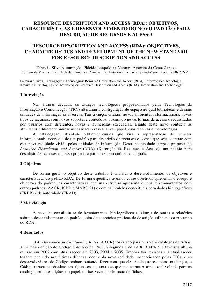 RESOURCE DESCRIPTION AND ACCESS (RDA): OBJETIVOS,  CARACTERÍSTICAS E DESENVOLVIMENTO DO NOVO PADRÃO PARA              DESC...